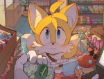 1boy animal_ears animal_nose blue_eyes blush c52278 candy candy_store closed_mouth dessert food fox_boy fox_ears fox_tail furry gloves highres looking_at_viewer male_focus multiple_tails shop smile solo_focus sonic_(series) standing tail tails_(sonic) two_tails white_gloves