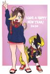 1boy 1girl 2020 aqua_eyes arm_up backpack bag bare_legs black_shirt black_shorts blonde_hair blue_sweater blush brown_hair english_text fang gashi-gashi grey_eyes hair_ornament hair_over_one_eye hairclip happy_new_year highres knit_sweater looking_at_viewer new_year open_mouth original plaid plaid_scarf ponytail purple_background red_footwear red_scarf red_shorts sandals scarf shirt shoes shorts smile spring_onion sweater