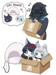 ... 1other 2girls :3 ambiguous_gender animal_ear_fluff animal_ears animalization arknights black_gloves black_hair black_jacket blaze_(arknights) blue_eyes blush box cardboard_box cat_ears chibi commentary fang gloves green_eyes grey_hair hairband holding holding_box hood hood_up in_box in_container jacket mask multiple_girls musical_note penguin_logistics_logo red_hairband rosmontis_(arknights) simple_background smug someyaya spoken_ellipsis white_background white_gloves