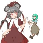 2girls animal_ears bangs black_footwear blue_capelet blush bow bright_pupils brown_bow brown_dress brown_ribbon capelet closed_mouth cosplay costume_switch dowsing_rod dress eyebrows_visible_through_hair frilled_ribbon frills front_ponytail green_eyes green_hair grey_dress grey_hair hair_bow hair_ribbon highres holding holding_clothes holding_dress jewelry kagiyama_hina kagiyama_hina_(cosplay) long_hair long_sleeves mizusoba mouse_ears multiple_girls nazrin nazrin_(cosplay) pendant red_eyes ribbon short_hair short_sleeves simple_background smile standing sweat touhou white_background white_pupils