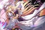 absurdres arm_strap arm_up blonde_hair blurry blurry_background bow dress flame_print ground_vehicle hair_bow hat hat_ribbon highres kkulbaeajossi long_hair long_sleeves mob_cap motion_blur outstretched_arm parasol puffy_long_sleeves puffy_sleeves red_ribbon ribbon tabard touhou train umbrella very_long_hair white_dress white_headwear wide_sleeves yakumo_yukari