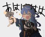 1girl ^_^ ^o^ asymmetrical_hair beret black_headwear black_shirt blue_jacket blush blush_stickers choker closed_eyes collared_shirt commentary eyebrows_visible_through_hair firing flat_chest gin_ka08 green_ribbon grey_background gun handgun hat holding holding_gun holding_weapon hololive hoshimachi_suisei jacket laughing nail_polish neck_ribbon off_shoulder official_alternate_costume open_clothes open_jacket open_mouth orange_nails ribbon shell_casing shirt short_sleeves side_ponytail simple_background smile solo sparkle twitter_username upper_body virtual_youtuber weapon wing_collar