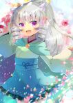 1girl :d bangs blue_skirt blurry blurry_background blush bow demon_horns depth_of_field drill_hair eyebrows_visible_through_hair facial_mark fang frilled_skirt frills green_kimono grey_hair hair_between_eyes hair_bow hand_up high_ponytail horns japanese_clothes kimono kouu_hiyoyo long_hair long_sleeves looking_at_viewer open_mouth original pinching_sleeves pink_bow ponytail short_eyebrows sidelocks skirt sleeves_past_wrists smile solo thick_eyebrows twin_drills very_long_hair violet_eyes wide_sleeves