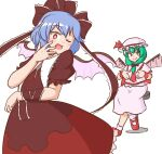2girls arm_ribbon bangs bat_wings bow bright_pupils brown_bow brown_dress brown_ribbon cosplay costume_switch crossed_legs dress eyebrows_visible_through_hair fake_wings frilled_ribbon frills front_ponytail green_eyes green_hair hair_bow hair_ribbon hat hat_ribbon kagiyama_hina kagiyama_hina_(cosplay) looking_down mizusoba mob_cap multiple_girls one_eye_closed pink_headwear pink_legwear pink_shirt pink_skirt purple_hair red_eyes red_footwear red_neckwear red_ribbon remilia_scarlet remilia_scarlet_(cosplay) ribbon shirt short_hair simple_background sitting skirt standing stool touhou white_background white_pupils wings wrist_cuffs
