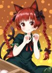 1girl animal_ear_fluff animal_ears braid breasts cat_ears cat_tail dress fang green_dress highres kaenbyou_rin long_hair looking_at_viewer multiple_tails nekomata orange_background red_eyes redhead ruu_(tksymkw) simple_background small_breasts smile solo tail touhou twin_braids twintails two_tails very_long_hair wheelbarrow