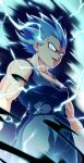 1boy absurdres bare_arms blue_hair bodysuit commentary corruption dragon_ball electricity from_below gloves highres looking_at_viewer male_focus muscular muscular_male pectorals signature sleeveless sm318 smile solo spiky_hair super_saiyan super_saiyan_blue vegeta white_gloves