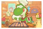 1boy apron blue_eyes bowl chef_hat cherry cookie egg facial_hair flower food fruit gashi-gashi hat jar mario super_mario_bros. mustache oven oven_mitts red_apron red_flower red_headwear rolling_pin solo_focus tongue tongue_out vase white_flower window yellow_flower yoshi