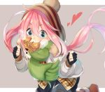 1girl ahoge bangs black_gloves blue_eyes boots border checkered checkered_shirt clenched_hands commentary_request eating eyebrows_visible_through_hair eyes_visible_through_hair fingerless_gloves food food_in_mouth gloves green_scarf grey_background hands_up heart jacket kagamihara_nadeshiko light_blush long_hair long_sleeves multicolored multicolored_clothes multicolored_legwear panda_inu pink_hair pom_pom_(clothes) running scarf shirt simple_background solo sparkling_eyes striped striped_legwear taiyaki wagashi white_jacket winter_clothes woollen_cap yurucamp