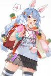 1girl :d animal_ears backpack bag bag_charm bangs blue_hair blush braid bunny-shaped_pupils carrot_hair_ornament charm_(object) closed_umbrella clothes_writing collarbone commentary_request crime_prevention_buzzer fake_animal_ears fang food-themed_hair_ornament hair_ornament heart highres holding hololive ishihara_(kuniyoshi) layered_skirt long_hair looking_at_viewer miniskirt multicolored_hair open_mouth polka_dot_skirt rabbit_ears randoseru red_eyes scrunchie shirt simple_background skirt smile solo speech_bubble spoken_heart striped striped_legwear thick_eyebrows thigh-highs twin_braids two-tone_hair umbrella usada_pekora white_background white_hair white_shirt wrist_scrunchie zettai_ryouiki