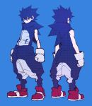 1boy blue_background blue_eyes blue_hair blue_theme closed_mouth from_behind full_body gloves highres hood hood_down humanization looking_at_viewer male_focus multiple_views pants rapizore red_footwear simple_background sleeveless sonic_(series) sonic_the_hedgehog spiky_hair standing white_gloves