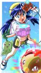 1girl absurdres bangs bike_shorts blue_eyes blue_hair border chikorita commentary_request cropped_jacket dated earrings gen_2_pokemon highres holding jacket jewelry kibisakura2 kris_(pokemon) long_hair long_sleeves looking_at_viewer natu open_clothes open_jacket open_mouth outside_border pokedex pokemon pokemon_(creature) pokemon_adventures shoes starter_pokemon tongue twintails twitter_username white_border white_footwear white_jacket yellow_headwear