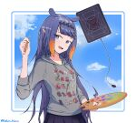 1girl alternate_costume ao-chan_(ninomae_ina'nis) bangs black_skirt clouds english_commentary grey_hoodie hair_behind_ear highres holding holding_paintbrush holding_palette hololive hololive_english hood hoodie kel_kelvin long_hair mole mole_under_eye ninomae_ina'nis paintbrush palette pointy_ears purple_hair skirt sky smile solo tablet_pc tako_(ninomae_ina'nis) tentacle_hair very_long_hair violet_eyes virtual_youtuber