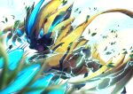 blue_eyes blurry claws electricity fangs from_below gen_7_pokemon highres leaves_in_wind looking_at_viewer mythical_pokemon no_humans open_mouth pokemon pokemon_(creature) ririri_(user_rkrv7838) solo tongue white_background yellow_fur zeraora