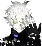 black_coat black_gloves coat colored_sclera colored_skin fingerless_gloves gloves green_sclera grin hand_up joints looking_at_viewer original pigeon666 pin portrait robot robot_joints sharp_teeth simple_background smile teeth upper_body white_background white_hair white_skin yellow_eyes
