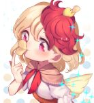 1girl animal animal_on_head bird bird_on_head bird_wings blonde_hair blush chick chicken chips dress eyebrows_visible_through_hair feathered_wings food highres looking_at_viewer multicolored_hair niwatari_kutaka on_head orange_dress pointing pointing_up potato_chips pringle_duck red_eyes redhead satomachi short_hair sparkle touhou two-tone_hair upper_body white_background wings yellow_wings