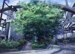 arrow_(symbol) balcony blue_sky brick_floor bridge building bush car city day grass ground_vehicle highres moribuden motor_vehicle motorcycle no_bicycles_sign no_humans no_pedestrian_crossing_sign outdoors pedestrian_lights road road_sign scenery sign sky street tactile_paving traffic_light tree yu-gi-oh! yu-gi-oh!_gx
