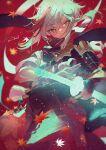 1boy armor genshin_impact highres japanese_armor kazuha_(genshin_impact) leaf potg_(piotegu) red_background red_eyes samurai short_ponytail simple_background solo sword weapon white_hair