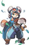 1boy :3 animal_nose aqua_eyes armored_boots arms_up artist_request aviator_cap belt blue_cape blue_headwear blue_jumpsuit body_fur boots brown_fur cape cracking_knuckles dog_boy dog_tail eyewear_on_head full_body furry goggles happy highres interlocked_fingers leaf legs_apart looking_to_the_side male_focus non-web_source official_art open_mouth orange-tinted_eyewear outstretched_arms ruu_(world_flipper) sheath sleeveless_jumpsuit smile snout solo standing strap sword tail transparent_background two-tone_fur v-shaped_eyebrows weapon white-framed_eyewear white_fur wooden_sword world_flipper