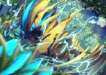 blue_eyes blurry claws electricity fangs from_below gen_7_pokemon grass highres leaves_in_wind looking_at_viewer mythical_pokemon night no_humans open_mouth outdoors pokemon pokemon_(creature) ririri_(user_rkrv7838) solo tongue yellow_fur zeraora
