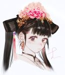 1girl bangs blush brown_hair closed_mouth earrings flower hair_flower hair_ornament highres jewelry looking_at_viewer original pigeon666 pink_flower portrait signature simple_background solo tassel twintails violet_eyes white_background