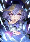 1girl bangs bead_necklace beads braid braided_ponytail covering_mouth deras genshin_impact hand_over_own_mouth highres jewelry long_hair long_sleeves looking_at_viewer necklace ofuda purple_hair purple_headwear qiqi_(genshin_impact) solo talisman violet_eyes