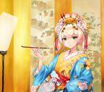 1girl absurdres architecture bell blonde_hair closed_mouth daishu_mianbao double_bun east_asian_architecture eyeshadow flower gradient_hair green_eyes hair_bell hair_flower hair_ornament hairpin haori highres holding holding_pipe hololive japanese_clothes jingle_bell kimono kiseru layered_clothing layered_kimono light_blush looking_at_viewer makeup momosuzu_nene multicolored_hair nekko_(momosuzu_nene) nihongami obi oiran pink_hair pipe sash solo two_side_up virtual_youtuber
