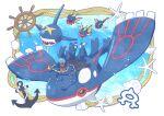 1boy air_bubble anchor anchor_necklace archie_(pokemon) batabiru beard blue_bandana brown_hair bubble carvanha closed_mouth commentary_request dark-skinned_male dark_skin facial_hair gen_3_pokemon highres kyogre legendary_pokemon lying male_focus on_stomach pokemon pokemon_(creature) pokemon_(game) pokemon_oras riding_pokemon rope seashell sharpedo shell ship's_wheel smile starfish team_aqua underwater wetsuit