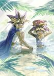 2boys armlet atem bangs basket blonde_hair cape closed_mouth commentary_request day egyptian food fruit fushitasu hand_on_own_knee holding jewelry looking_up male_focus multicolored_hair multiple_boys mutou_yuugi open_mouth outdoors purple_hair sitting smile spiky_hair water yu-gi-oh! yu-gi-oh!_duel_monsters