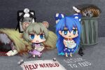 4girls android animal_collar animal_ears bangs begging black_bow blood blue_bow blue_eyes blue_skirt bow brown_hair chibi collar cookie_(touhou) corpse debt dress english_commentary english_text eyebrows_visible_through_hair fake_nyon_(cookie) full_body grey_hoodie grey_shirt hair_between_eyes hair_bow hakurei_reimu holding holding_bow hood hoodie iei large_bow long_hair mochiya_(cookie) mouse_ears multiple_girls nazrin nyon_(cookie) open_mouth patch patches patchwork_clothes pinafore_dress pink_dress poverty rock shirt short_hair skirt stuffed_animal stuffed_cat stuffed_toy tearing_up tongjm touhou trash_can yorigami_shion zerukalo_(cookie)