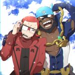2boys abs adjusting_eyewear anchor_necklace archie_(pokemon) batabiru blue_bandana clouds commentary_request covered_abs dark-skinned_male dark_skin glasses hand_up highres holding long_sleeves looking_at_viewer male_focus maxie_(pokemon) multiple_boys muscular muscular_male open_mouth pokemon pokemon_(game) pokemon_oras redhead ribbed_sweater sharp_teeth sky smile sweatdrop sweater team_aqua team_magma teeth tongue upper_body