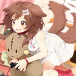 1girl afterimage animal_ears blush bone_hair_ornament braid breasts brown_hair collar commentary controller cup curtains dog_ears dog_tail dress earplugs full_body game_controller hair_ornament highres holding holding_controller holding_game_controller hololive indoors inugami_korone kneeling leaning_forward medium_breasts medium_hair motion_blur nail_polish nejime open_mouth red_collar red_eyes red_legwear side_braids signature sleeveless sleeveless_dress socks sweat sweatdrop sweating_profusely tail tail_wagging teacup tearing_up tears tray twin_braids virtual_youtuber wavy_mouth white_dress wristband yellow_nails