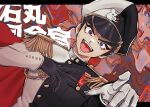 bangs black_gloves black_hair black_headwear black_jacket blue_eyes buttons commentary_request danganronpa:_trigger_happy_havoc danganronpa_(series) dutch_angle fangs gakuran gloves hand_on_own_chest hands_up hat highres ishimaru_kiyotaka jacket looking_at_viewer male_focus military military_uniform mismatched_gloves monokuma multicolored multicolored_eyes octo_(sumidanagi) open_mouth peaked_cap red_eyes school_uniform short_hair solo thick_eyebrows two-tone_headwear two-tone_jacket uniform white_gloves white_headwear white_jacket