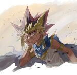 1boy armlet atem black_hair blonde_hair bracelet cape commentary_request covering_one_eye ear_piercing earrings fushitasu jewelry male_focus parted_lips piercing redhead ring solo spiky_hair violet_eyes yu-gi-oh!