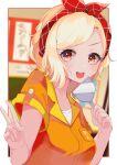 1girl absurdres bangs blonde_hair bow gyaru hair_bow highres love_live! love_live!_nijigasaki_high_school_idol_club love_live!_school_idol_festival_all_stars medium_hair miyashita_ai nagisa_iori open_mouth orange_eyes orange_shirt shirt short_sleeves solo spatula thank_you_for_coming!_(love_live!) v yellow_eyes