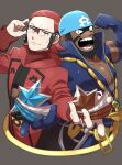 2boys adjusting_eyewear archie_(pokemon) batabiru beard black_hair blue_bandana clenched_hand closed_mouth collarbone commentary_request dark-skinned_male dark_skin facial_hair glasses glint hands_up highres holding looking_at_viewer male_focus maxie_(pokemon) medium_hair multiple_boys open_mouth pokemon pokemon_(game) pokemon_masters_ex pokemon_oras redhead ribbed_sweater sharp_teeth shiny smile sweater team_aqua team_magma teeth tongue wetsuit
