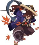 1boy armor artist_request bangs belt black_headwear blue_scarf brown_footwear brown_hair brown_hakama closed_mouth eyebrows_visible_through_hair full_body hair_tie hakama hakama_pants half-closed_eyes haori hat high_ponytail highres holding holding_sword holding_weapon japanese_clothes katana kimono leaf long_hair long_sleeves looking_to_the_side male_focus maple_leaf non-web_source official_art red_eyes sandals scarf sheath sheathed shiny shiny_hair shoulder_armor shoulder_spikes sidelocks socks solo soushiro_(world_flipper) spikes squatting sword tabi tied_hair transparent_background v-shaped_eyebrows weapon white_kimono white_legwear wide_sleeves world_flipper