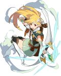 1girl aqua_jacket arm_up arrow_(projectile) artist_request aura bangs belt blonde_hair blush boots bow_(weapon) breasts brown_legwear choker cropped_jacket crystal emerald_(gemstone) from_behind full_body green_choker green_skirt high-waist_skirt highres holding holding_arrow holding_bow_(weapon) holding_weapon jacket jumping knee_boots knees_together_feet_apart light_blush long_hair looking_at_viewer looking_back mercel_(world_flipper) miniskirt non-web_source official_art open_clothes open_jacket open_mouth outstretched_arm pointy_ears pouch quiver red_eyes shirt short_sleeves sidelocks skirt sleeveless sleeveless_shirt small_breasts smoke solo sweatband teeth thigh-highs tiara transparent_background v-shaped_eyebrows weapon white_footwear white_headwear white_shirt wide_sleeves world_flipper zettai_ryouiki