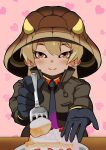 1girl black_gloves blonde_hair breast_pocket brown_jacket cake closed_mouth collared_jacket detached_hood drawstring feeding food foreshortening fork fruit gloves hair_between_eyes heart heart_background high_collar highres holding holding_fork hood hood_up hurisian incoming_food jacket kemono_friends king_cobra_(kemono_friends) long_hair long_sleeves necktie orange_eyes outstretched_arms outstretched_hand plate pocket smile solo strawberry tan