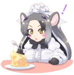 +_+ 1girl animal_ears anteater_ears arm_rest black_hair blouse blush_stickers bow bowtie breast_rest breasts brown_eyes eyes_visible_through_hair food fur_collar fur_trim gelatin giant_anteater_(kemono_friends) gloves grey_hair hair_ornament hand_up highres holding holding_spoon kemono_friends long_hair long_sleeves looking_at_object mikan_toshi multicolored_hair open_mouth solo spoon symbol-shaped_pupils upper_body very_long_hair white_hair