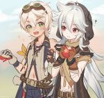 2boys ? ahoge apple armband bandaid bandaid_on_face bandaid_on_nose bangs belt bennett_(genshin_impact) blush clenched_hand collarbone collared_shirt commentary_request eyebrows_visible_through_hair food fruit genshin_impact gloves goggles goggles_on_head green_eyes grey_hair hair_between_eyes haruya_(lajoon) holding holding_food holding_fruit hood hood_up long_hair looking_at_another male_focus midriff multiple_boys navel open_mouth razor_(genshin_impact) red_eyes scar scar_on_arm scar_on_face shirt simple_background sleeveless smile sparkle tassel white_hair