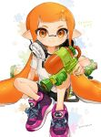 1girl bangs bike_shorts blunt_bangs blush closed_mouth commentary_request copyright_name eyelashes headphones highres holding inkling looking_at_viewer pointy_ears purple_footwear shirt shoes short_sleeves sitting smile sneakers solo splatoon_(series) spread_legs t-shirt twitter_username ume_(plumblossom) white_shirt