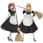 2girls :d absurdres angry apron bangs black_dress black_footwear black_ribbon blonde_hair blue_eyes bob_cut breasts broom brown_hair closed_mouth commentary_request dress eyebrows_visible_through_hair full_body gloves hand_on_hip high_heels highres holding holding_broom juliet_sleeves long_sleeves looking_at_viewer maid maid_apron maid_headdress medium_breasts medium_hair multiple_girls neck_ribbon open_mouth original over_shoulder pantyhose puffy_sleeves ribbon shoes short_hair simple_background smile standing v-shaped_eyebrows waist_apron white_apron white_background white_gloves white_legwear yoon_cook