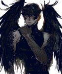1boy black_shirt black_wings closed_mouth facial_hair feathers hair_between_eyes hand_on_own_shoulder harpy_boy highres jitome looking_at_viewer male_focus monster_boy original pigeon666 pink_eyes shirt simple_background solo stubble upper_body white_background wings