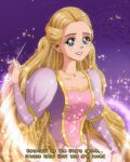 1990s_(style) absurdly_long_hair barbie_(character) barbie_(franchise) barbie_as_rapunzel barbie_movies blonde_hair blue_eyes braid brenni_murasaki caption dress eyelashes glowing happy jewelry juliet_sleeves long_hair long_sleeves multiple_braids necklace paintbrush painting pink_dress pink_lips poem princess puffy_sleeves purple_background purple_dress rapunzel retro_artstyle smile sparkle sparkle_background very_long_hair wand