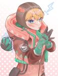 1girl :o apex_legends bangs blonde_hair blue_eyes bodysuit botan_sui breasts brown_headwear cable electricity gloves green_gloves hands_together highres hood hooded_jacket jacket lightning_bolt_symbol looking_at_viewer open_mouth pink_bodysuit red_bodysuit red_jacket ribbed_bodysuit small_breasts solo twitter_username upper_body wattson_(apex_legends)