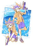 2boys ;d commentary_request fushitasu holding hood hood_down hoodie looking_at_viewer lower_teeth male_focus multiple_boys mutou_yuugi one_eye_closed open_clothes open_hoodie open_mouth orange_hair orange_hoodie orange_shirt purple_hair purple_shorts shirt shoes short_sleeves shorts smile sneakers spiky_hair squatting standing tongue water_drop water_gun yami_yuugi yu-gi-oh!