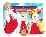2girls :d absurdres alternate_costume arch blonde_hair blue_eyes bonnie_(pokemon) braixen broom clothed_pokemon clouds commentary confetti day english_commentary eyelashes gazing_eye gen_2_pokemon gen_6_pokemon hair_ornament highres holding holding_broom holding_stick light_brown_hair long_sleeves multiple_girls new_year open_mouth pigeon-toed pleated_skirt pokemon pokemon_(anime) pokemon_(creature) pokemon_xy_(anime) red_skirt sandals serena_(pokemon) short_hair skirt sky smile stick swinub tabi tongue wide_sleeves |d