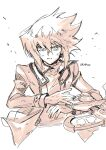 1boy bangs buttons card commentary_request duel_disk floating_hair fushitasu hands_up jacket long_sleeves male_focus open_clothes open_jacket parted_lips serious sketch solo upper_body yu-gi-oh! yuuki_juudai
