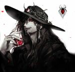 1boy beard black_hair black_headwear braid collared_shirt colored_sclera colored_skin cup extra_eyes facial_hair fang fang_out fingernails goatee hand_up hat highres holding holding_cup long_hair looking_at_viewer male_focus original pigeon666 red_eyes red_sclera shirt smile solo stalker_(pigeon666) white_background white_skin wing_collar