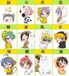 >_< alpaca animal_costume bird bunny cathead chart cherry_(lucky_star) chibi chicken chinese_zodiac cow dengshuyu dog dragon goddess grass_mud_horse hiiragi_kagami hiiragi_tsukasa iwasaki_minami izumi_konata kobayakawa_yutaka kuroi_nanako kusakabe_misao lucky_star monkey mouse nyamou patricia_martin pig rabbit sheep sheep_costume snake takara_miyuki tamura_hiyori tiger wink zodiac